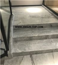China Ice Grey Marble Steps/Chinese Grey Marble Stair/Light Grey Marble Stair Riser&Stair Treads/China Grey Marble Staircase/Grey Marble Steps&Stairs/Interior Decoration