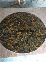 Yellow and Blue Tiger Eye Semi-Precious Stone Round Table Tops/Semi Precious Table Tops/Tiger Eye Stone Work Top/Semiprecious Stone Inlayed Tabletops/Table Top for Hotels& Villa&Restaurant