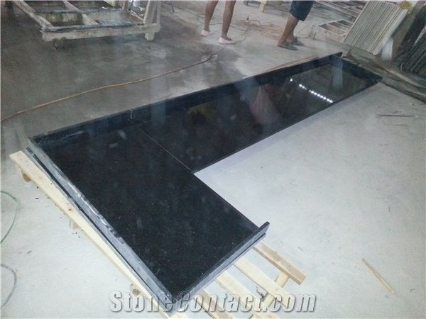 India Black Granite Black Galaxy Countertop Black Galaxy