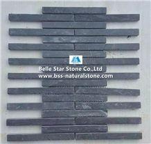China Black Riven Slate Mosaic,Charcoal Grey Split Face Slate Wall Mosaic,Carbon Black Slate Floor Mosaic,Black Stone Mosaic,Dark Grey Slate Mosaic Pattern,Slate Mosaic Wall Tiles,Interior Mosaic Tile