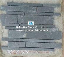 China Black Riven Slate Mosaic,Charcoal Grey Split Face Slate Wall Mosaic,Carbon Black Slate Floor Mosaic,Dark Grey Slate Mosaic Pattern,Natural Slate Stone Mosaic,Black Mosaic Wall Tiles