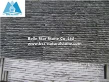 China Black Riven Slate Waterfall Ledgestone,Charcoal Grey Split Face Slate Mini Stacked Stone,Carbon Black Slate Waterfall Culture Stone,Natural Slate Stone Cladding,Real Slate Slim Thin Stone Veneer