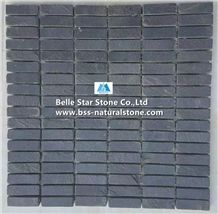 China Black Split Face Slate Mosaic,Charcoal Grey Riven Slate Wall Mosaic,Carbon Black Slate Floor Mosaic,Natural Slate Stone Mosaic,Dark Grey Slate Mosaic Pattern,Interior Stone Mosaic Tiles