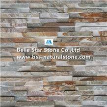 Oyster Split Face Grooved Slate Stacked Stone,White Gold Quartzite Ledgestone,Silver Sunset Quartzite Stone Cladding,Desert Gold Quartzite Culture Stone,Honey Golden Quartzite Stone Wall Panels