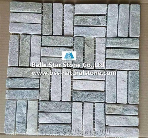 Oyster Split Face Slate Mosaic Silver Sunset Quartzite Wall White Gold Floor Desert Pattern Stone