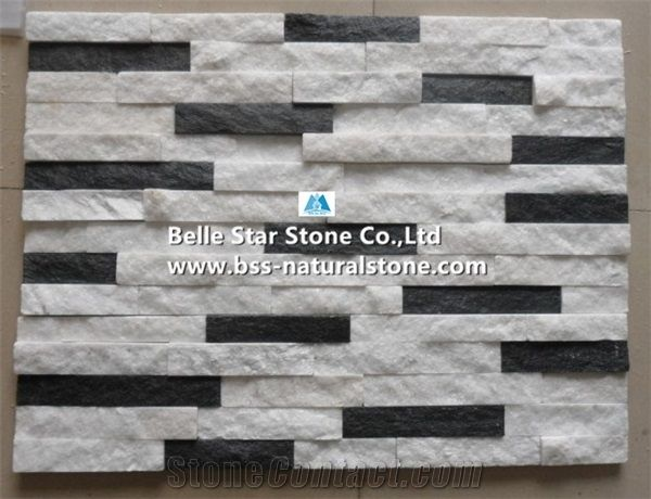 White Quartzite Mixed Black Quartzite Stone Cladding