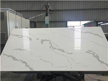 Manmande Quartz Italian Calacatta Carrara White Polished Slabs