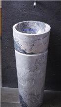 Yabo Grey/Gray Marble Pedestal Basins,Bathroom Sinks,Wash Basins,Round Basins,Round Sinks,Natural Stone Pedestal Basins,Marble Stone Basins