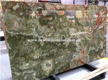 China Green Onyx Polished Tiles & Slabs/Natural Building Stone Onyx with Brown Veins/Lines/Flooring/Feature Wall/Clading/Hotel Lobby/Bathroom/Living Room Project Decoration/Best Price Green Onyx