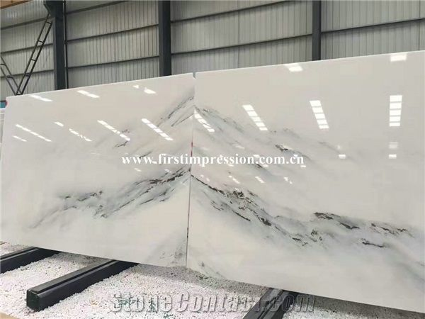 China White Marble Slabs Book Matched Chinese New Landscape Paintings Tiles Polished For Feature