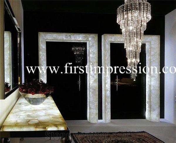 Crystal White Gemstone Bathroom Design Precious Stone Countertop Luxury Decorating