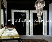 Crystal White Gemstone Bathroom Design/Crystal White Precious Stone Bathroom Countertop/Crystal White Luxury Bathroom Decorating /White Gemstone Bathroom Ideas