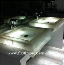 Crystal White Gemstone Bathroom Design/White Crystal Precious Stone Bathroom Countertop/White Luxury Bathroom Ideas /White Crystal Backlit Gemstone Bathroom /White Crystal Wall Panel