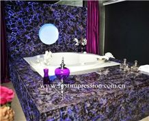 Purple Crystal Gemstone Bathroom Design ,Amethyst Semiprecious Backlit,Lilac Semi Precious Stone Wall Panel & Tiles,Violet Precious Stone Bathroom Ideas,Purple Crystal Tathroom Flooring