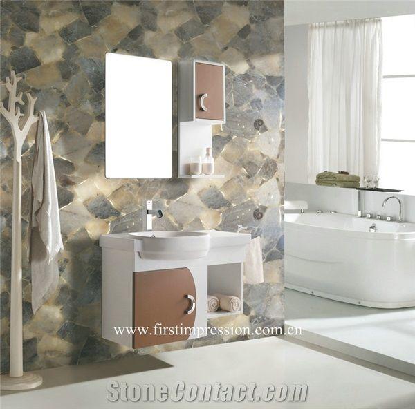 Smoke Crystal Bathroom Design Grey Quartz Wall