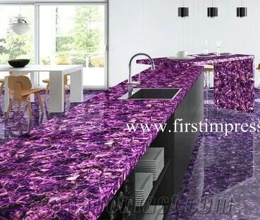 Violet Semi Precious Countertops Purple Crystal Kitchen