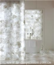 White Crystal Gemstone Bathroom Design/White Crystal Precious Stone Bathroom Countertop/Crystal White Luxury Bathroom Decorating /White Crystal Backlit Gemstone Bathroom Ideas