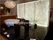 White Crystal Gemstone Bathroom Design/White Crystal Precious Stone Bathroom Countertop/Crystal White Luxury Bathroom Decorating /White Crystal Backlit Gemstone Bathroom Ideas/White Crystal Wall Panel
