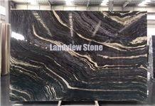 Kenya Black Marble Slabs, Silver Brown Wave Marble Slabs, Antique Wooden Black Marble Slabs