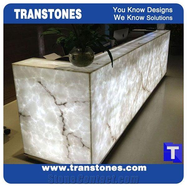 Artificial Bianco Carrara White Marble Panel Reception