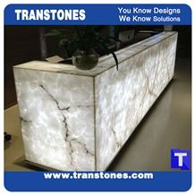 Artificial Bianco Carrara White Marble Panel Reception Desk,Show Table,Translucent Backlit Stone Consulting Counter Top,Engineered Stone Solid Surface Transtones Customzied