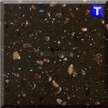 Artificial Chocolate Brown Acrylic Slabs Granite Look, Solid Surface Coffee Marrone Decorative Glass Acrylic Stone Sheet Panels Tiles for Wall,Floor Covering Kitchen Bathroom Counter Tops Project Desi