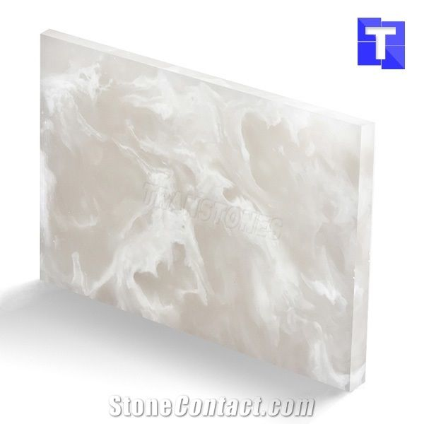 Artificial Crystal Spray White Onyx Wall Panel Floor Tiles Solid ...