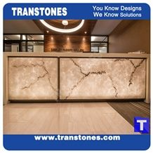 Artificial Engineered Stone Bianco Carrara White Marble Panel Reception Desk,Show Table,Translucent Backlit Stone Consulting Counter Top,Solid Surface Transtones Customzied