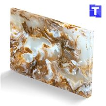 Artificial Golden Dragon Onyx Wall Panel,Floor Tiles Solid Surface Brown Glass Stone for Bar Tops,Reception Table Desk Panel for Hotel Counter Tops Design,Interior Engineered Stone Alabaster