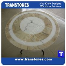 Bianco Artificial Carrara Marble Waterjet Onice Onyx Round Table Sets,Interior Furniture Iron Legs,Solid Surface Coffee Table,Desk Manmade Stone Transtone Customized