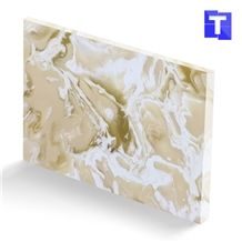 New Material Artificial Beige Spray Sea Wave Onyx Wall Panel,Floor Tiles Solid Surface Cream Glass Stone for Bar Tops,Reception Table Desk Panel for Hotel Counter Tops Design,Interior Alabaster