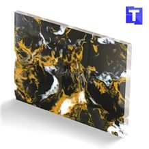 New Material Artificial Nero Portoro Gold Marble Sheet Wall Panel,Floor Tiles Translucent Backlit Slabs for Hotel Countertops,Solid Surface Glass Stone Professional Manufacture