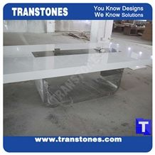 Project Show Modern Design Artificial Marble White Acrylic Conference Table, White Artificial Stone Office Meeting Tables Sets,Solid Surface Glass Stone Work Top,Interior Stone Furniture Manufacture