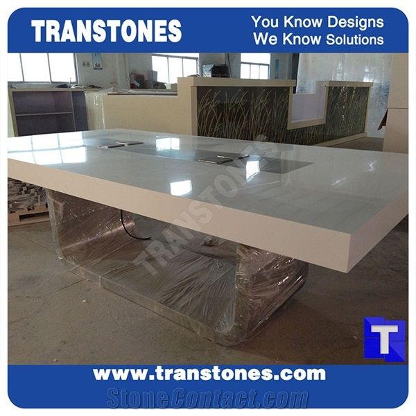 Project Show Modern Design Artificial Marble White Acrylic - White marble conference table