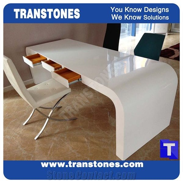 Project Show Pure Snow White Artificial Marble Stone Modern Curved U Shaped Office Desk Table Top Designs Engineered Solid Surface Work Sets
