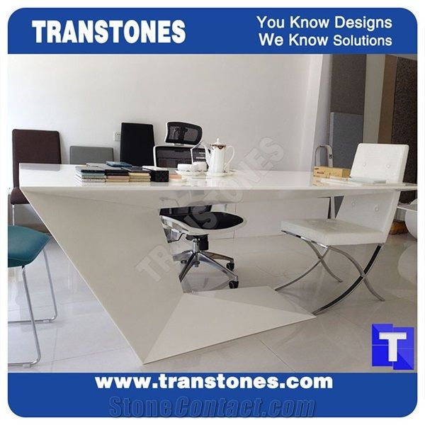 Project Show Pure White Artificial Marble Stone Modern Curved U Shaped Office Desk Table Top Designs Engineered Solid Surface Acrylic Work Sets