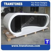 Project Show Snow White and Black Artificial Marble Stone Modern Curved Office Ceo Desk Table Designs,Engineered Stone Solid Surface Work Table Sets Good Price,Interior Office Furniture
