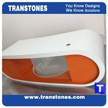 Project Show Snow White Artificial Marble Stone Modern Curved Office Ceo Desk Table Designs,Engineered Stone Solid Surface Work Table Sets Good Price,Interior Office Furniture Color Customized