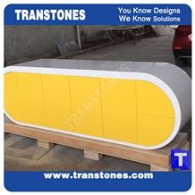 Project Show Yellow Panel White Artificial Marble Stone Modern Curved Office Ceo Desk Table with Drawer Designs,Engineered Stone Solid Surface Work Table Sets Good Price,Interior Furniture Manufacture