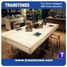 Solid Surface Artificial Bianco Carrara White Marble Panel Reception Desk,Show Table,Translucent Backlit Stone Consulting Counter Top,Engineered Stone Transtones Customzied