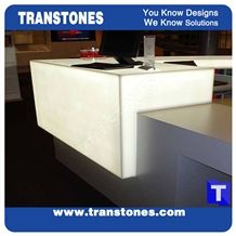 White Artificial Marble Panel Bar Tops,Bianco Artificial Stone Club Reception Tops,Engineered Stone Alabaster Panel for Tabletop, Solid Surface Glass Stone,Transtones Customized