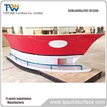 Boat Shaped Wooden Home Bar Counter with Artificial Marble Stone Bar Table Tops, New Design Home Mini Boat Shaped Bar Counter with Acrylic Solid Surface Interior Stone Bar Work Tops Interior Stone