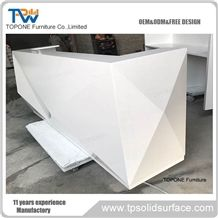 Diamond Design Acrylic Solid Surface Interior Stone Reception Desk Front Table Design, Artificial Marble Stone Interior Stone Office Front Table Desk Design Furniture