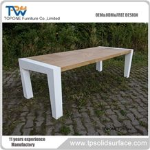 Square Shape Interior Stone Artificial Marble Stone Conference Table with Wood Table Tops Design