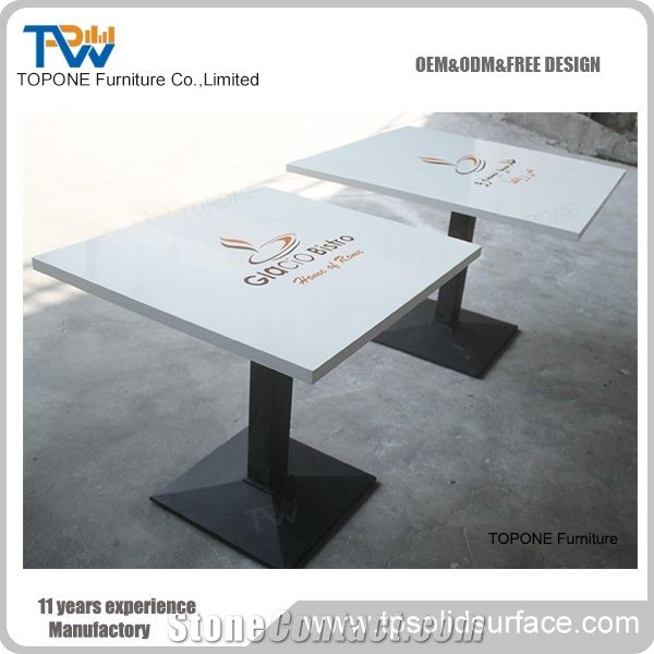 White Square Acrylic Solid Surface Coffee Table with Logo on