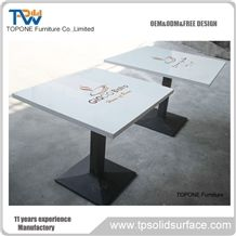 White Square Acrylic Solid Surface Coffee Table with Logo on the Table Tops Design, Interior Stone Coffee Shop Table Top Design for Sale,Interior Stone Coffee Shope Furniture
