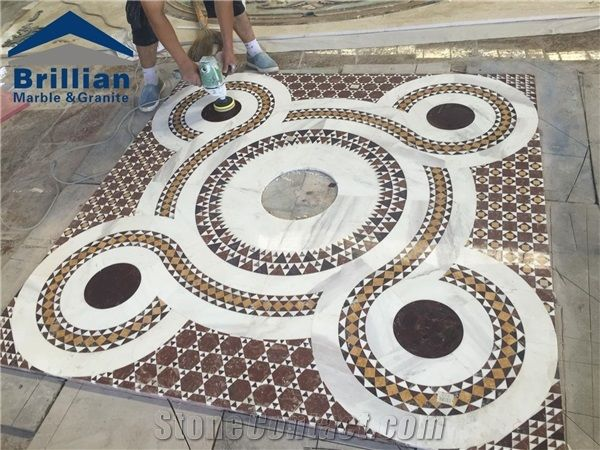 White And Beige Marble Medallion Tiles Mixed Color Design Compeive Flooring Price Thin Water Jet Medallions Rectangular