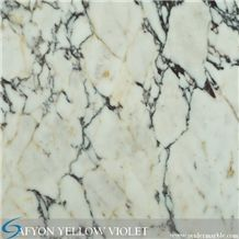 Afyon Yellow Violet, Afyon Violet, Turkish Afyon Violet, Purle Veins, Yellow Veins, White Marble, Paonazetto Marble, Polished Afyon Violet