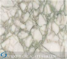 Turkish Calacatta Green, Turkish Marbe, Green veins, Polished Calacatta, Kutahya Quarry