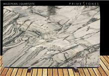 Wild Pearl Quartzite Polished Slabs, Brazil White Quartzite